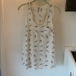 Joie Alicia Silk Top with Feather Print